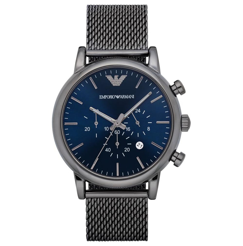 Mens / Gents Gunmetal Grey Mesh Chronograph Emporio Armani Designer Watch AR1979