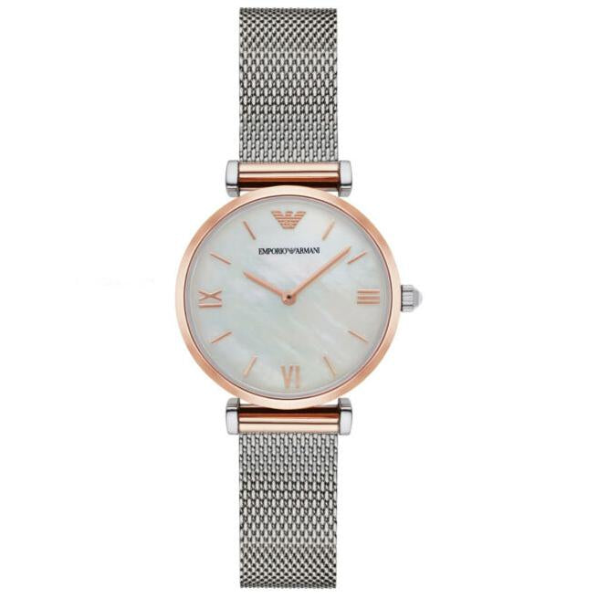 Ladies / Womens Silver & Rose Gold Mother Of Pearl Emporio Armani Designer Watch AR2067