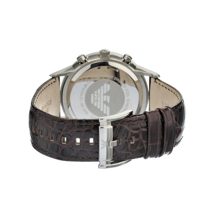Mens Brown Leather Chronograph Emporio Armani Watch AR2433