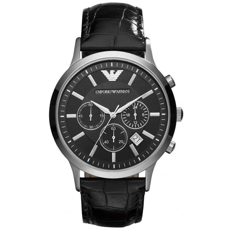 Mens Black Leather Chronograph Emporio Armani Watch AR2447