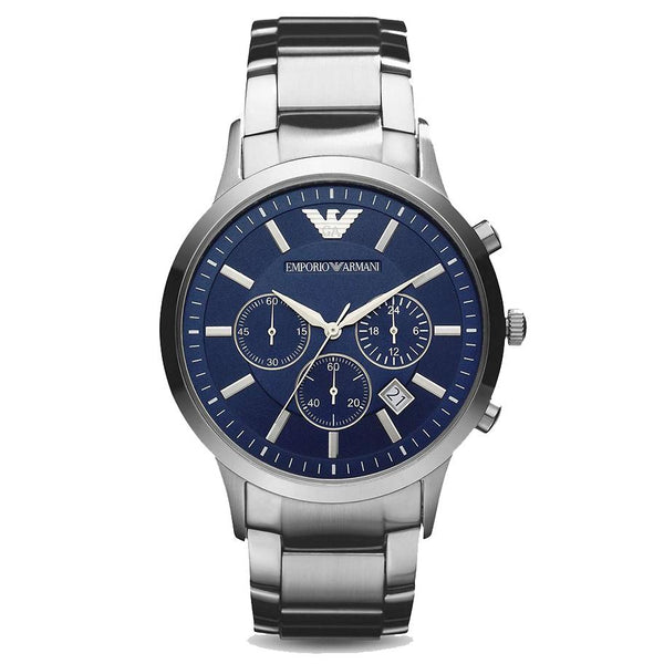 Mens Blue Dial Stainless Steel Chronograph Emporio Armani Watch AR2448