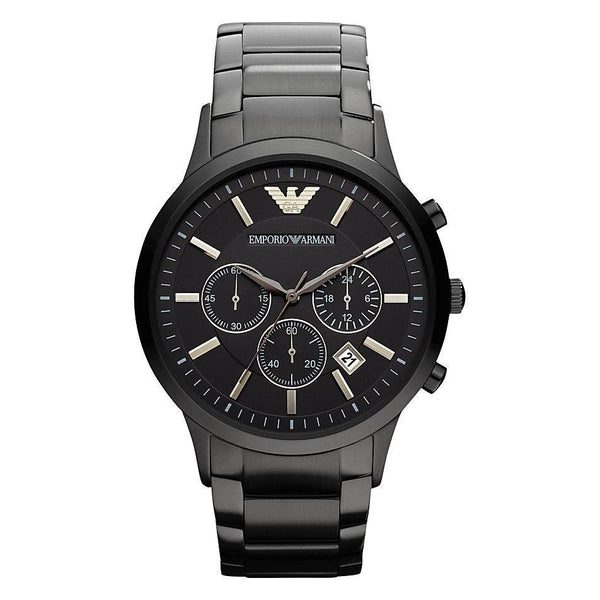 Mens / Gents Black Stainless Steel Chronograph Emporio Armani Designer Watch AR2453
