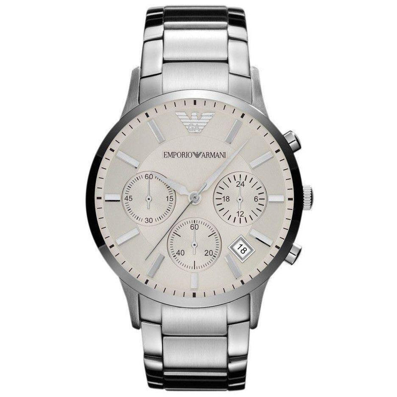 Mens Silver Stainless Steel Chronograph Emporio Armani Watch AR2458