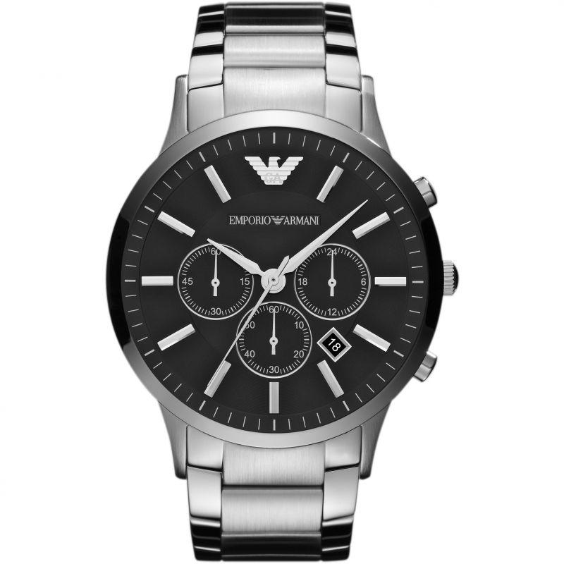Mens Silver Black Stainless Steel Chronograph Emporio Armani Watch AR2460