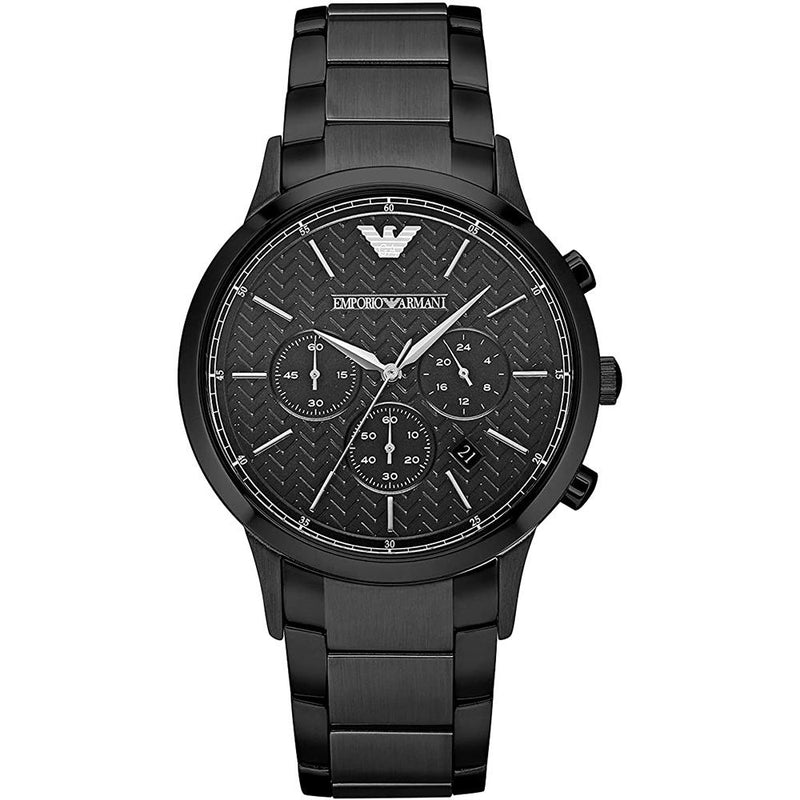 Mens / Gents Black Stainless Steel Chronograph Emporio Armani Designer Watch AR2485