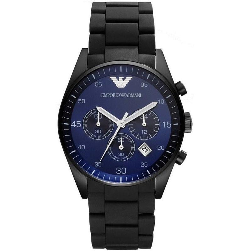 Mens / Gents Black & Blue Silicon Chronograph Emporio Armani Designer Watch AR5921