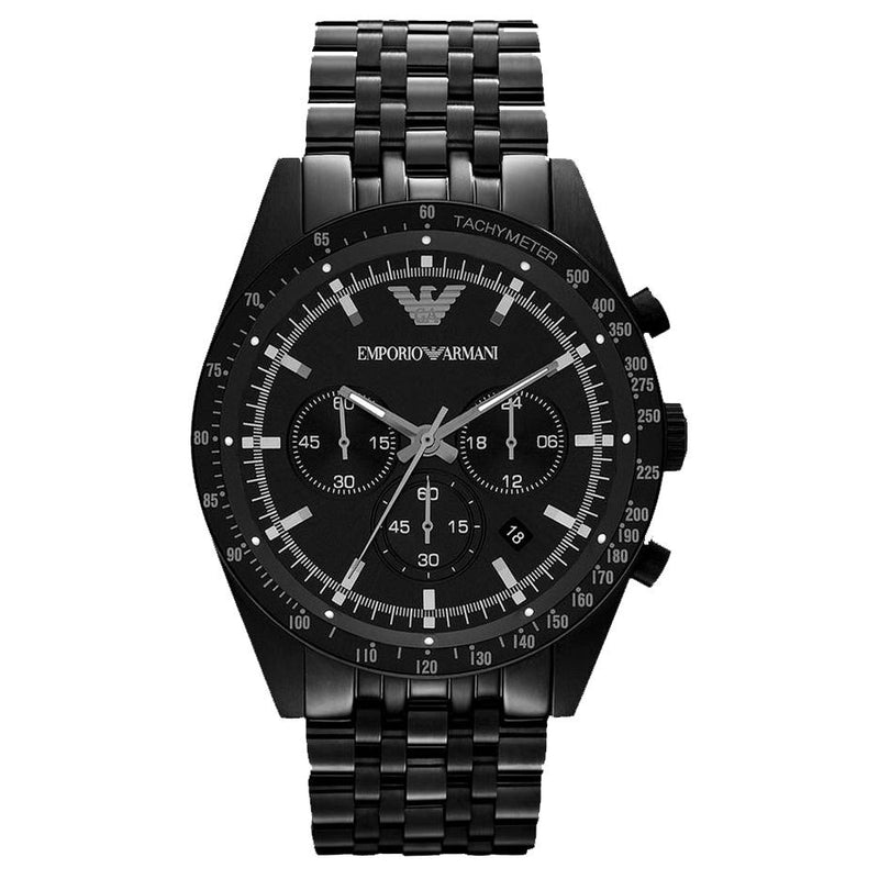 Mens / Gents Black Stainless Steel Chronograph Emporio Armani Designer Watch AR5989