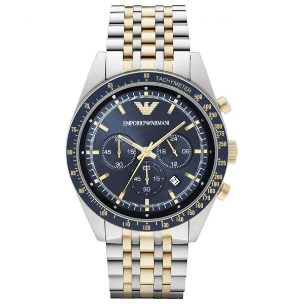 Mens Blue Dial Two Tone Stainless Steel Chronograph Emporio Armani Watch AR6088