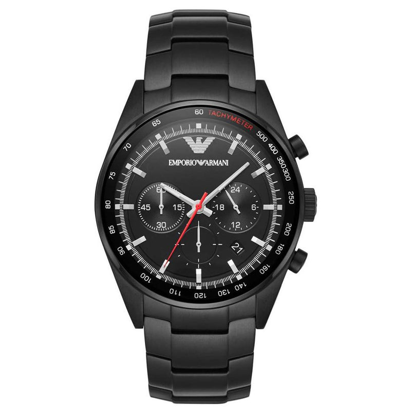 Mens / Gents Black Stainless Steel Chronograph Emporio Armani Designer Watch AR6094