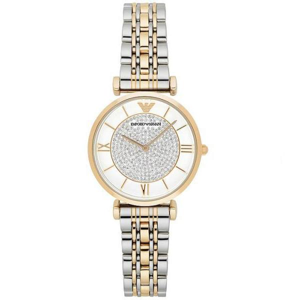 Ladies / Womens Gold & Silver Stainless Steel Emporio Armani Designer Watch AR8031