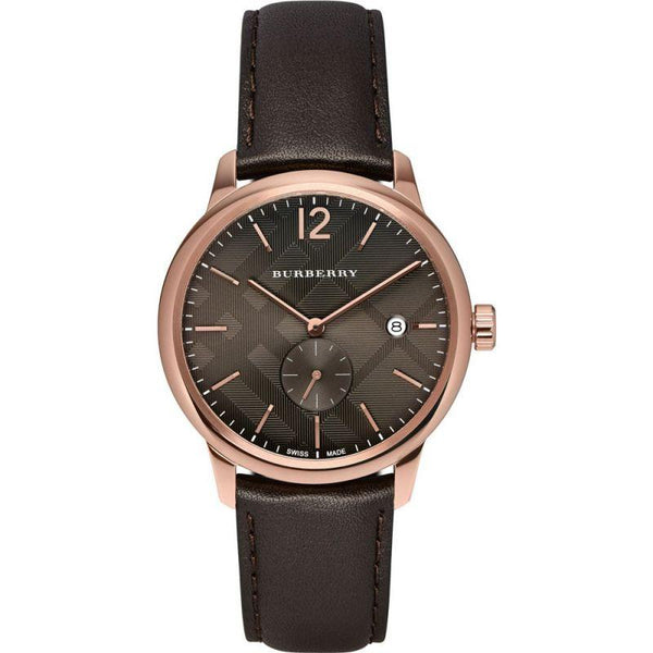 Mens Check Stamped Rose Gold Burberry Watch BU10012