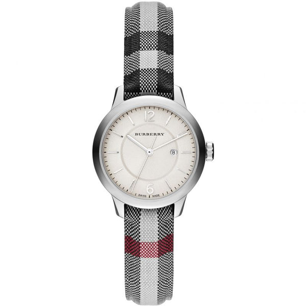 Ladies / Womens Classic Horseferry Check Fabric Strap Burberry Designer Watch BU10103