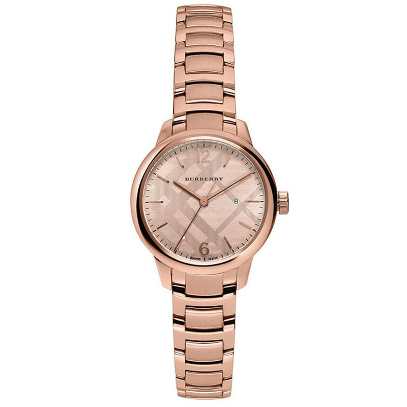 Ladies / Womens Rose Gold Swiss Stainless Steel Burberry Bracelet Designer Watch BU10116