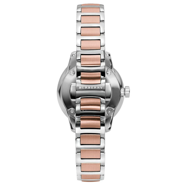 Ladies / Womens Classic Silver & Rose Gold Two-Tone Stainless Steel Burberry Designer Watch BU10117
