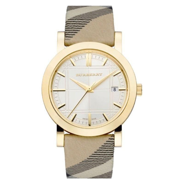 Ladies / Womens City Nova Check Gold Dial Check Strap Burberry Designer Watch BU1398