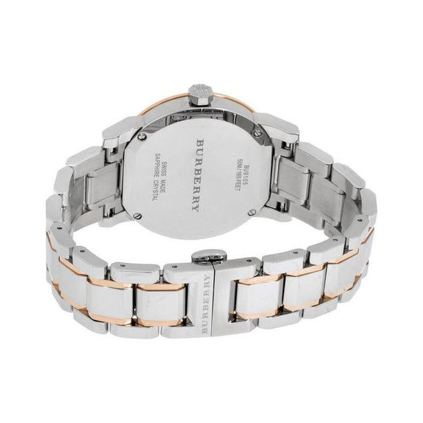 Ladies / Womens Silver Dial Two-Tone Stainless Steel Burberry Designer Watch BU9105