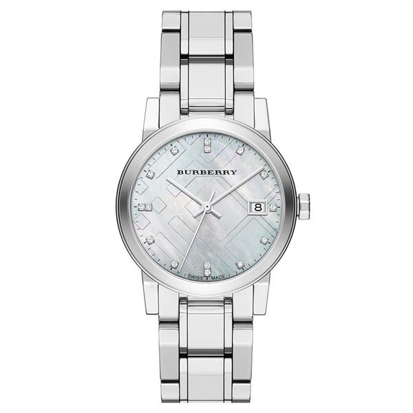 Ladies / Womens Silver Diamond-Accented Stainless Steel Burberry Designer Watch BU9125
