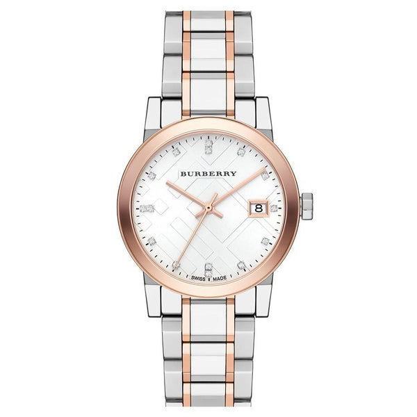 Ladies / Womens Two-Tone Rose Gold Burberry Designer Watch BU9127