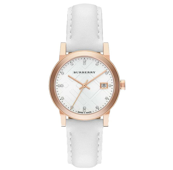 WoMens The City Diamond Leather Burberry Watch BU9130