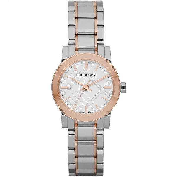 Ladies / Womens White Dial Rose Gold Ion-Plated Bezel Burberry Designer Watch BU9205