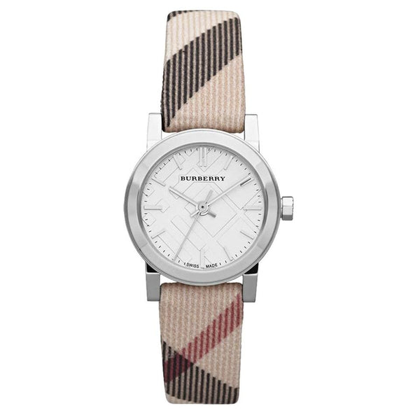 Ladies / Womens Silver Dial Nova Check Leather Burberry Designer Watch BU9212