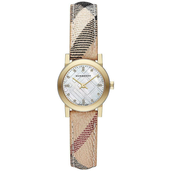 Ladies / Womens The City Diamond Haymarket Fabric Strap Burberry Designer Watch BU9226