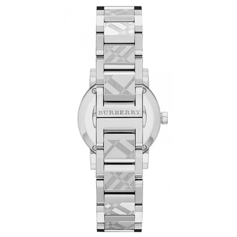 Ladies / Womens The City Engraved Silver Steel Burberry Bracelet Designer Watch BU9233