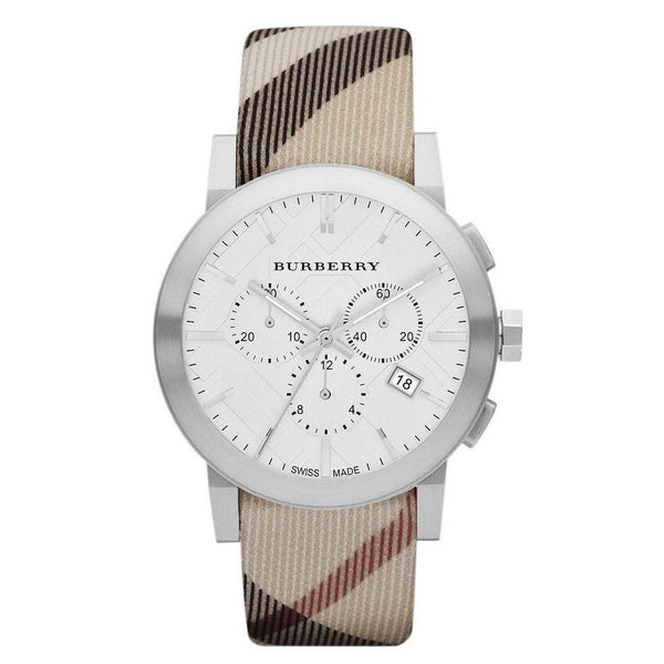 Ladies / Womens City Nova Check Leather Strap Chronograph Burberry Designer Watch BU9357
