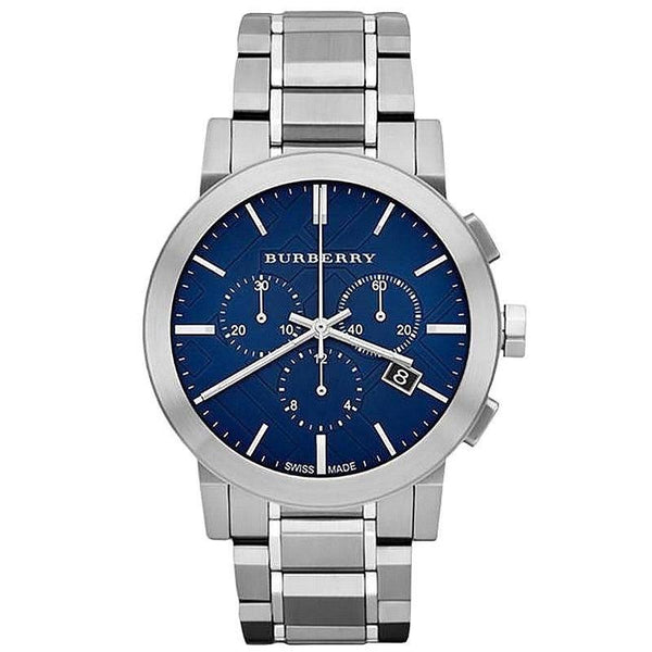 Mens / Gents Blue Dial Silver Stainless Steel Chronograph Burberry Designer Watch BU9363