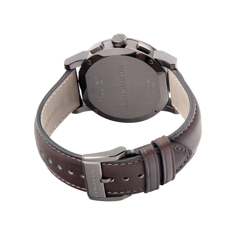 Mens / Gents The City Dark Grey Leather Strap Chronograph Burberry Designer Watch BU9364