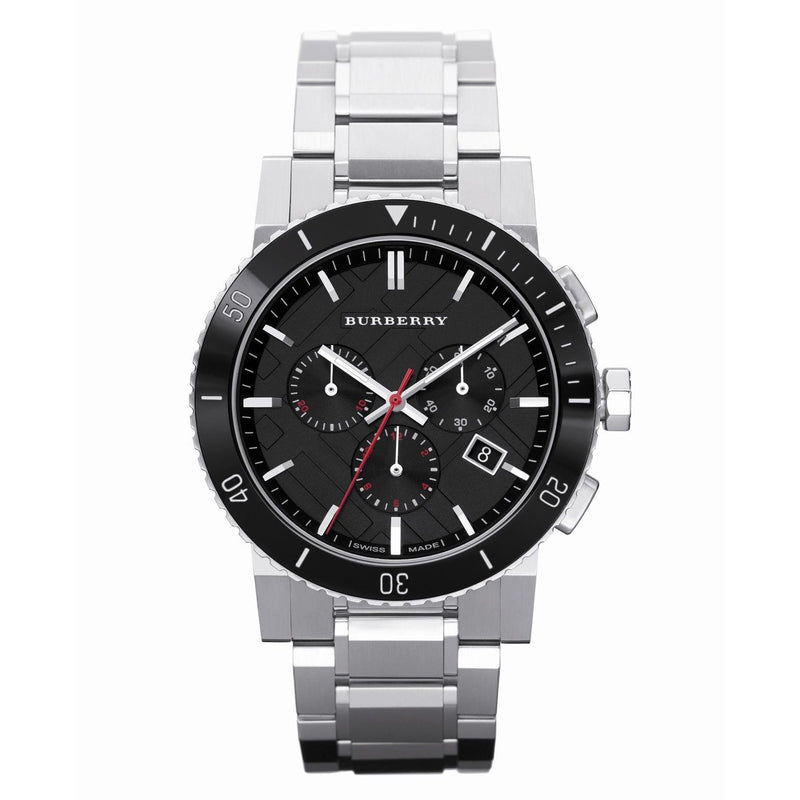Mens / Gents Silver Stainless Steel Chronograph Burberry Designer Watch BU9380