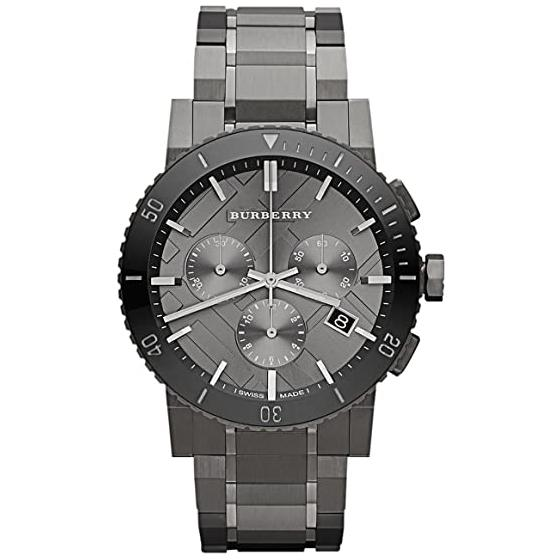 Mens / Gents Gunmetal Grey Ion Plated Chronograph Burberry Designer Watch BU9381