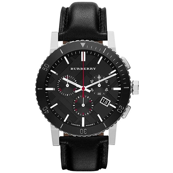 Mens / Gents Black Leather Chronograph Burberry Designer Watch BU9382