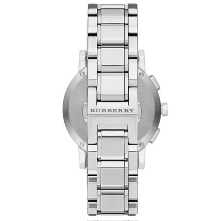 Ladies / Womens Silver Dial Stainless Steel Chronograph Burberry Designer Watch BU9750