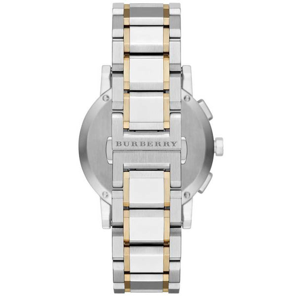 Mens The City Two Tone Stainless Steel Chronograph Burberry Watch BU9751