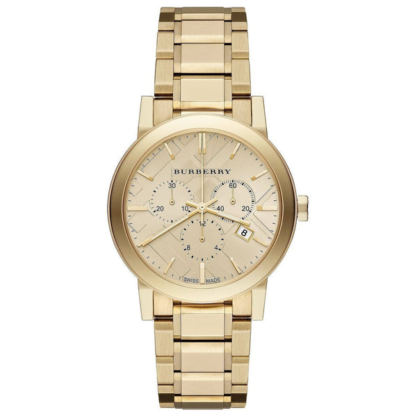 Ladies / Womens Gold Tone Stainless Steel Chronograph Burberry Designer Watch BU9753
