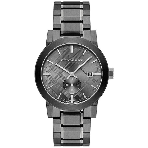 Mens / Gents Gunmetal Grey Stainless Steel Chronograph Burberry Designer Watch BU9902