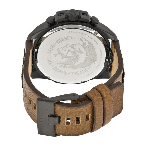Mens / Gents Mega Chief Chronograph Brown Leather Strap Diesel Designer Watch DZ4280