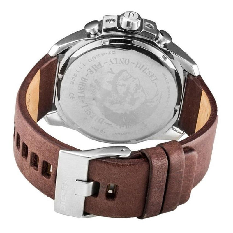 Mens / Gents Mega Chief Brown Leather Chronograph Diesel Designer Watch DZ4290