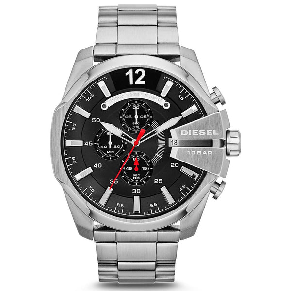 Mens / Gents Silver Mega Chief Chronograph Stainless Steel Diesel Designer Watch DZ4308