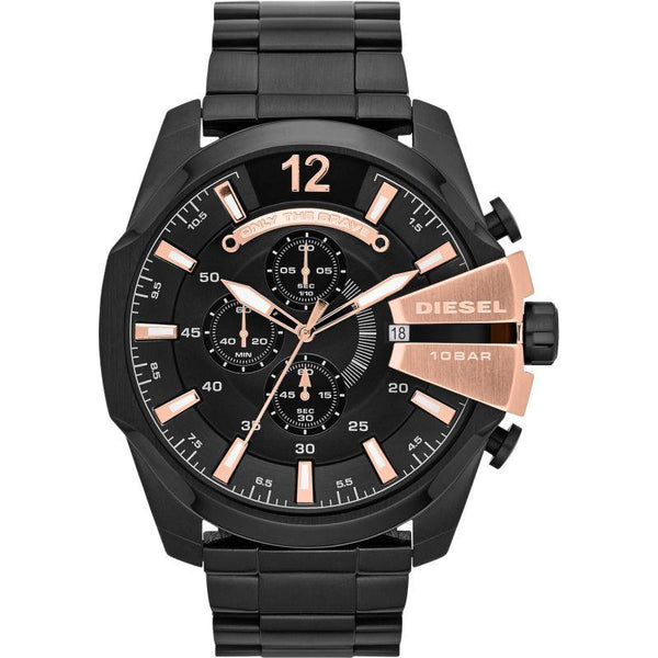 Mens Mega Chief Black Rose Gold Chronograph Diesel Watch DZ4309