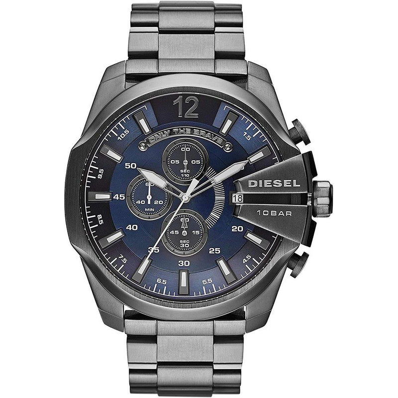 Mens / Gents Silver Mega Chief Stainless Steel Chronograph Blue Dial Diesel Designer Watch DZ4329