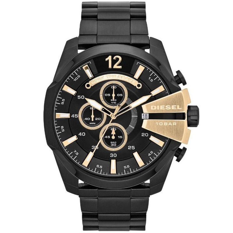 Mens / Gents Black & Gold Mega Chief Stainless Steel Chronograph Diesel Designer Watch DZ4338
