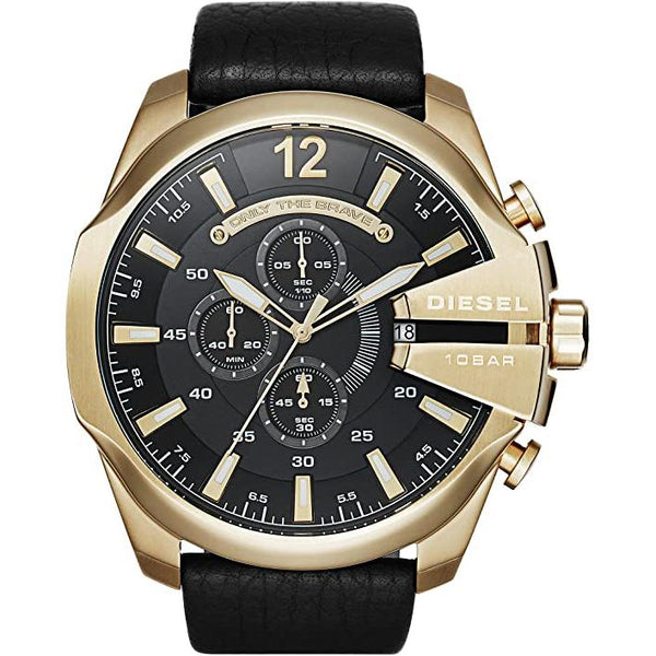 Mens / Gents Gold & Black Mega Chief Leather Strap Chronograph Diesel Designer Watch DZ4344