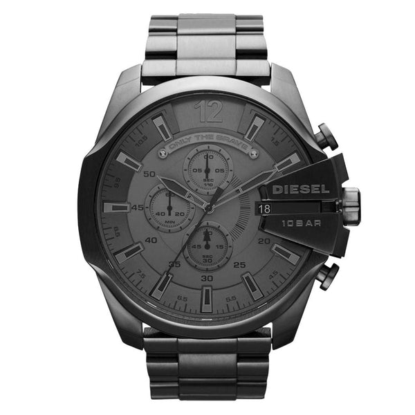 Mens / Gents Mega Chief Black Ion Plated Chronograph Diesel Designer Watch DZ4355