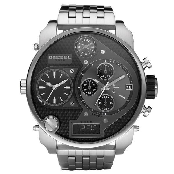 Mens / Gents Mr Daddy Silver Stainless Steel Chronograph Diesel Designer Watch DZ7221