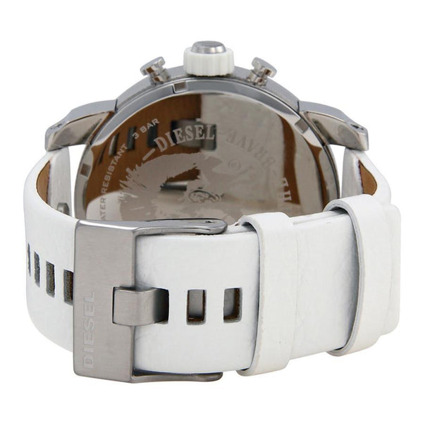 Mens / Gents White Mr Daddy 2.0 Leather Strap Chronograph Diesel Designer Watch DZ7265