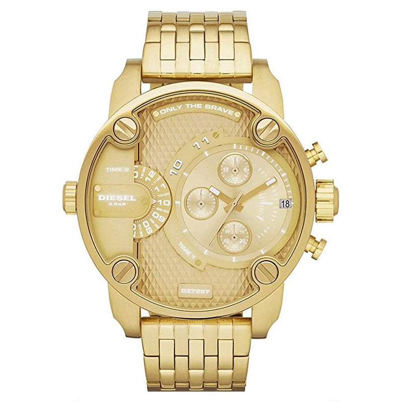 Mens / Gents Little Daddy Gold Stainless Steel Chronograph Diesel Designer Watch DZ7287