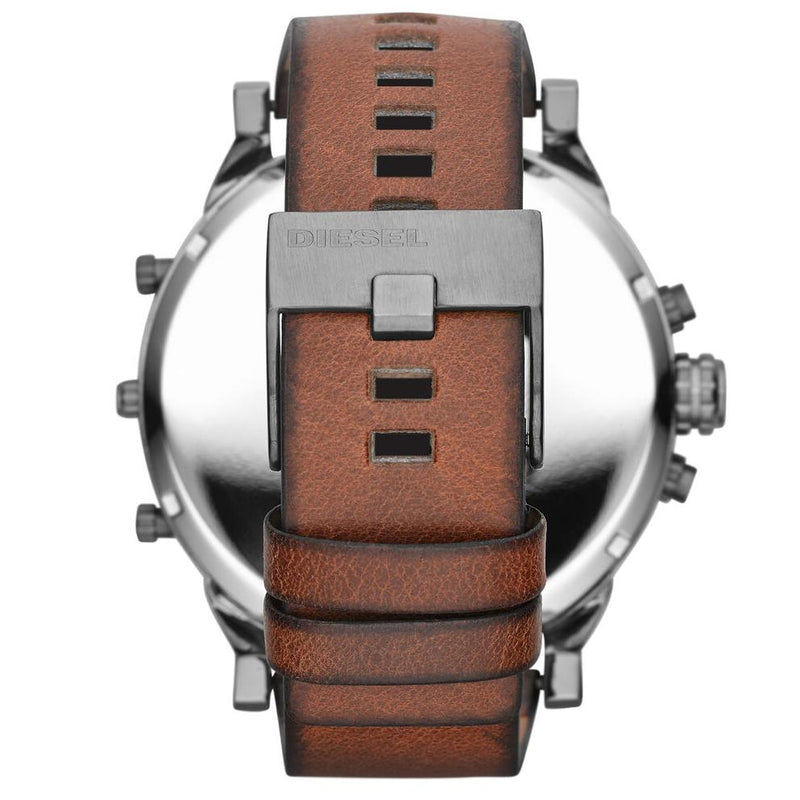 Mens / Gents Mr Daddy 2.0 Black & Brown Leather Chronograph Diesel Designer Watch DZ7332