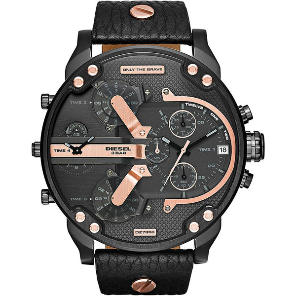 Mens / Gents Daddy 2.0 Black Leather Chronograph Diesel Designer Watch DZ7350